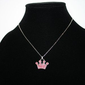 Nwot Silver and pink crown necklace 16""